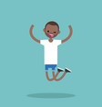 young winking jumping black guy flat editable vector image