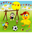 duckling and insects play football vector image
