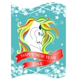 New Year 2014 card with horse and ribbon vector image