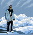 pop art hipster man on the top of rock vector image