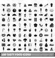 100 tasty food icons set in simple style vector image vector image