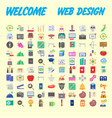 100 universal icons for web design on different vector image vector image