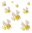 a swarm of bees set insects vector image