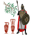 ancient hellenic warrior and jugs vector image vector image