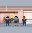 asian business people team holding light bulb new vector image vector image