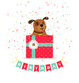 birthday greeting card with dog vector image vector image