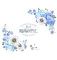 blue anemone corner banner vector image vector image