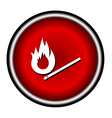 Burning match icon on white background vector image vector image