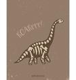 Cartoon diplodocus dinosaur fossil vector image