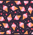 cherry ice cream cone dark seamless pattern vector image