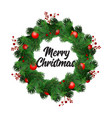 christmas wreath decorations with fir tree vector image vector image