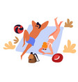 couple at beach travelers in swimwear sunbathing vector image vector image