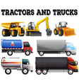 Different kind of tractors and trucks vector image vector image