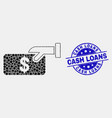 dot pay cash icon and scratched cash loans vector image vector image
