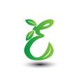 e green leaves letter ecology logo vector image