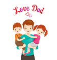 Father Carrying Son And Daughter vector image vector image
