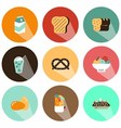 fruit and beverage icons shadow vector image vector image