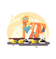 girl skateboarder sit on skateboard design flat vector image vector image