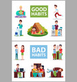 good and bad habits poster vector image
