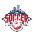 grunge soccer emblem vector image vector image