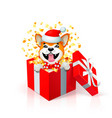 happy cartoon puppy in gift box wearing santas hat vector image vector image