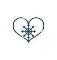 heart snowflake happy christmas line icon vector image vector image