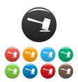 judge gavel icons set color vector image vector image