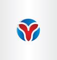 letter v circle symbol design vector image
