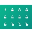 Locks icons on green background vector image