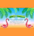 lovely summer flamingos and palm leaves beach vector image vector image