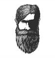 mustache and beard man head hand drawn vector image