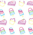 neon pattern cupcake cake and popsicle ice cream vector image