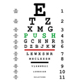 Optical eye test with push message vector image