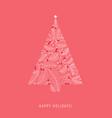 ornate christmas tree holiday card xmas pine vector image