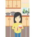 pregnant woman pouring juice vector image vector image