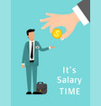 salary time concept hand gives money to salaried vector image vector image