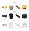 sandwich coffee shish kebab burgerfast food vector image
