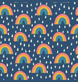 scandinavian style rainbows and raindrops seamless vector image vector image