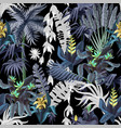 seamless pattern with jungle trees and flowers vector image vector image