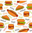 seamless pattern with sandwiches vector image