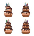 set of color with a chocolate cake vector image