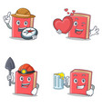 set of red book character with explorer heart vector image