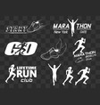 set vintage run club labels vector image vector image