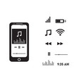 smartphone music player with icons