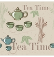 Tea time vintage seamless background Retro kettle vector image
