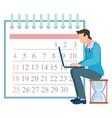 time management man working on laptop calendar vector image