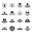 underwear logo icons set simple style vector image vector image