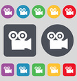 video camera icon sign A set of 12 colored buttons vector image