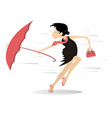 windy weather young woman and umbrella vector image vector image