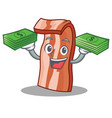 with money bacon mascot cartoon style vector image vector image